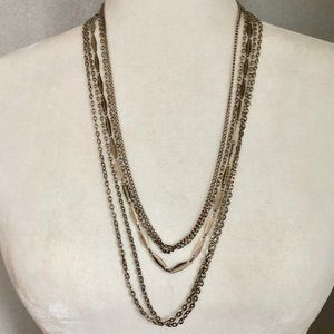 Jewelry - Vintage Multi-Layered Silver Chain Necklace